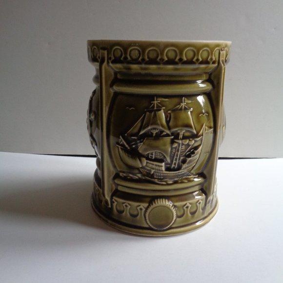 Mid-Century Green Ceramic Nautical Cachepot Vase